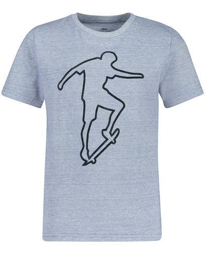Fein gestreiftes T-Shirt mit Reliefprint